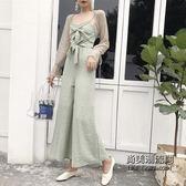 蝴蝶結吊帶連體褲 蕾絲開衫外套時尚套裝女裝兩件套 萬聖節服飾九折