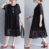 大尺碼洋裝大尺碼200斤顯瘦蕾絲簡約百搭寬鬆舒適連身裙有里布‧復古‧衣閣