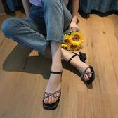 新款夏水鑚高跟涼鞋女粗跟一字扣帶百搭仙女風潮女鞋 - 風尚3C