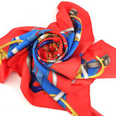 【奢華時尚】秒殺推薦!HERMES 藍色馬銜帶印花紅色方形90公分絲質大披肩領巾(九成新)#23541