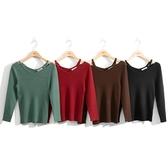 秋裝上市[H2O]領口吊帶設計羅紋線衫 - 紅/綠/黑/咖色 #0650010
