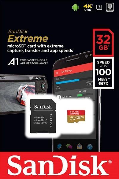 SanDisk 32GB 32G microSDHC【100MB/s Extreme】microSD SD SDHC UHS 4K U3 C10 V30 A1 SDSQXAF-032G 手機記憶卡