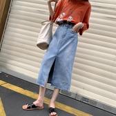 牛仔半身裙女2019春夏季新款chic高腰韓版顯瘦不規則毛邊中長裙子