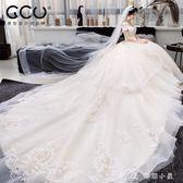 婚紗禮服新娘拖尾公主夢幻奢華重工孕婦齊地顯瘦女  全網最低價