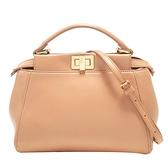 FENDI 粉膚色牛皮金釦手提肩背2way包 Peekaboo Iconic Mini Bag【BRAND OFF】