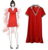 折後價不退換短袖大碼洋裝中長T裙XL-5XL/31669/新款韓版大碼胖mm加肥加大時尚簡約顯瘦連衣裙