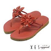 XES 夾腳拖鞋 輕輕淑女拖鞋 大花鞋飾 有型好穿_紅色