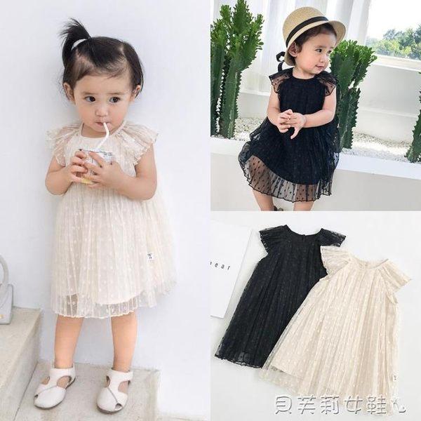 女童禮服女童嬰幼兒夏裝寶寶公主裙洋氣兒童禮服裙圓點 貝芙莉