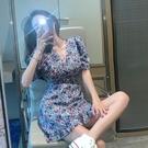 洋裝 法式復古碎花裙子女夏季2021新款修身收腰顯瘦氣質紫色連衣裙短裙 歐歐