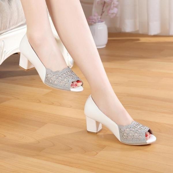 魚口鞋 2021春夏季新款單鞋女中跟粗跟鏤空休閒魚嘴涼鞋女鞋潮 風尚