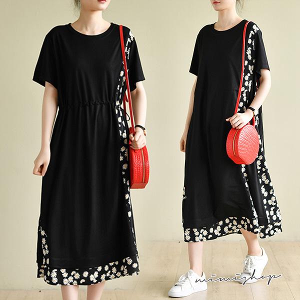 孕婦裝 MIMI別走【P521238】抽繩設計 寬版碎花拼接連身裙 孕婦洋裝 長裙