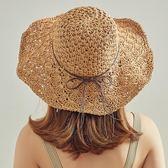 菠蘿花草帽子女春夏季出游度假防曬遮陽帽韓版小清新漁夫百搭涼帽