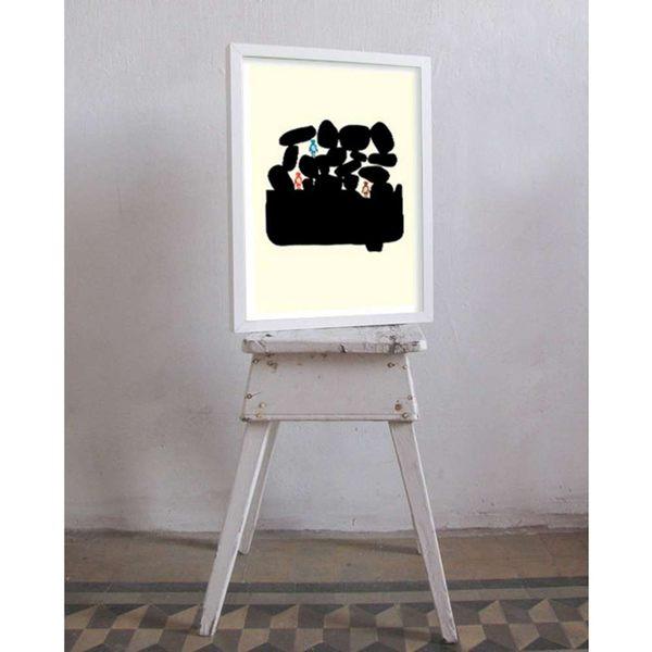 【摩達客】西班牙知名插畫家Judy Kaufmann創作海報掛畫裝飾畫-與朋友渡假 (附Judy本人簽名)(含木框)