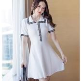海軍風配色優雅毛織A字連身裙[18062-QF]美之札