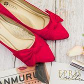 現貨 婚鞋紅色蝴蝶結真絲粗跟鞋 音符公主 晚宴鞋婚紗鞋 21.5-26 EPRIS艾佩絲-魅力紅