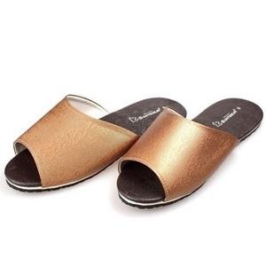 (e鞋院)金屬風時尚室內皮拖金27.5cm