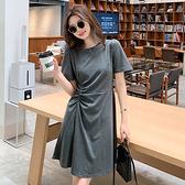 洋裝 休閒風素色抽繩顯瘦連身裙-媚儷香檳-【D1936】