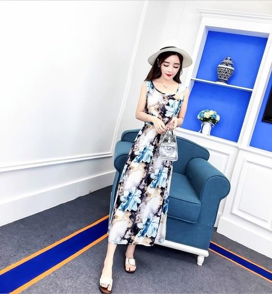 【GZ3E2】圖騰鬆緊縮腰雪紡洋裝 連身長裙 圖片色