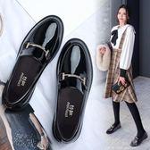 小皮鞋女英倫風2018春季新款韓版百搭一腳蹬平底黑色厚底學院單鞋『小淇嚴選』