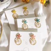 耳環 彩色 花朵 鏤空 圓環 珍珠 線條 甜美 氣質 耳釘 耳環【DD1905028】 BOBI  07/25