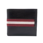 【台中米蘭站】全新品 BALLY 紅白織帶牛皮對開短夾(6167395-咖)