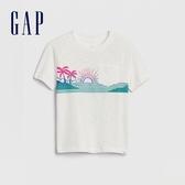 Gap男幼創意印花圓領短袖T恤577620-光感亮白