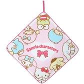 〔小禮堂〕Sanrio大集合 可掛式純棉割絨擦手巾《粉白.圍繞》33x33cm.毛巾 4992272-69500