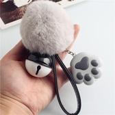 學貓叫!韓版可愛LED發光鑰匙扣 女生毛球鑰匙鏈掛件包掛飾