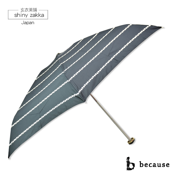 抗UV摺疊傘-日本品牌because迷你雨傘/陽傘-黑底愛心-玄衣美舖