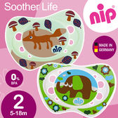 親乳奶嘴~德國矽膠拇指型安撫奶嘴5 18 個月2 入狐狸大象NIP G 31302 1