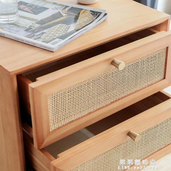 日式實木床頭櫃簡約現代民宿風藤編儲物收納櫃小戶型沙發邊櫃北歐 果果輕時尚NMS