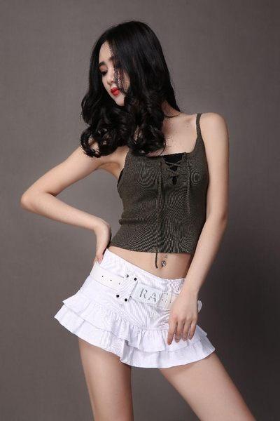 衣美姬♥韓版 甜美牛仔蛋糕裙 休閒百搭百褶裙 半身A字裙 送腰帶