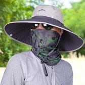遮陽帽男戶外大檐防紫外線遮臉釣魚帽夏天太陽帽漁夫帽男士防曬帽   蜜拉貝爾