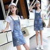 牛仔背帶裙女夏套裝學生韓版大碼小個子吊帶裙2021新款夏季連身裙