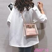 子母包pvc果凍包包女2021新款ins網紅透明小方包鍊條百搭子母側背斜背包 JUST M