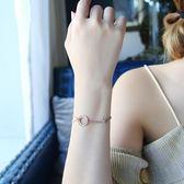 手鏈 韓版簡約鍍玫瑰金鑲鉆圓環羅馬數字手鏈女個性閨蜜流行時尚飾品 維多原創 免運