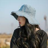 帽子女夏天牛仔漁夫帽休閒百搭正韓純色日系大檐防曬遮陽磨邊盆帽