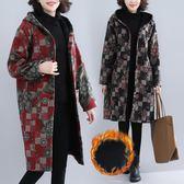 冬季新款毛呢印花民族風大尺碼女裝中長連帽加絨外套洋裝