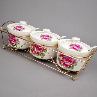 瓷器調味罐 紅、藍玫瑰三件裝