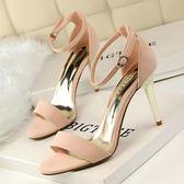 韓版金屬高跟鞋子 絨面一字帶高跟涼鞋《小師妹》sm549