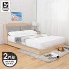【多瓦娜】MIT利拉工業日式5尺二件式房間組(加厚床底+矮皮床頭)-二色-036