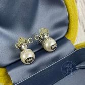 BRAND楓月 GUCCI 古馳 404836 大珍珠 GG LOGO 銀色 鑲鑽 夾式耳環 耳夾 飾品