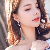 不對稱流蘇耳環925銀耳針女韓版耳飾品百搭 LQ4779『小美日記』