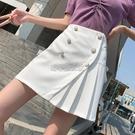 白色短裙女半身裙2021春夏新款雙排扣百褶裙高腰韓版百搭A字裙 快速出貨