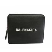 【BALENCIAGA】經典LOGO烙印牛皮零錢袋釦式短夾(黑) 551933 DLQ4N 1000