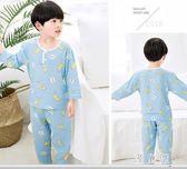 兒童睡衣夏季男童女童中大童棉綢套裝寶寶綿綢空調家居服短袖薄款 QQ4473『優童屋』