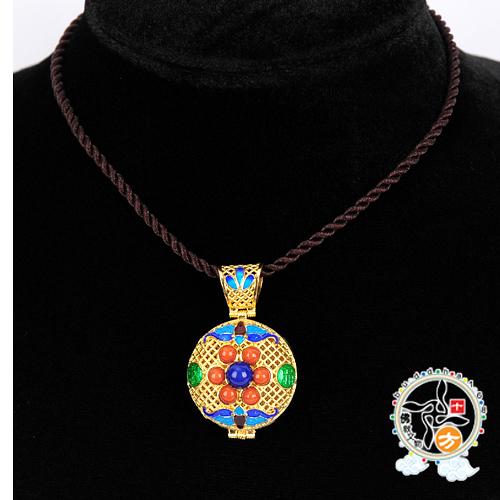 寶瓶(925銀)黑繩項鍊    +平安加持小佛卡  【 十方佛教文物】