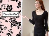 【大盤大】(W818)美麗諾 女 黑色 防縮 100%純羊毛 純羊毛衛生衣 發熱衣 羊毛內衣 套頭 情人節