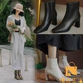 粗跟短靴女單靴法式高跟鞋瘦瘦靴騎士小方頭羊皮靴【慢客生活】