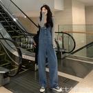 2019秋季新款韓版寬鬆闊腿長褲ins超火的減齡吊帶褲牛仔褲子女潮